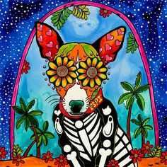 Dibujos Sugar Skull, Mexican Paintings, Owl Paintings, Latino Art, Chihuahua Art, Sugar Skull Art, Sugar Skulls, Day Of The Dead Art, Mexico Art