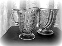 Vintage Victorian Pattern Glass Creamer and by LionheartGalleries