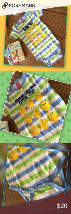 """🐥 Chicks Onesie Too cute for that handsome little one! This onesie is 100% cozy cotton. Festive graphics that will make you smile! Button snap bottom and lap neck for comfort and easy changing. Light blue and key lime coloring perfect for spring/summer. Company size chart for 12 months, fits age 6-12 months depending on child's weight, 19.5"""" chest, 27-29"""" height, 17-22 lbs, 13.5"""" garment body length. One Pieces"""