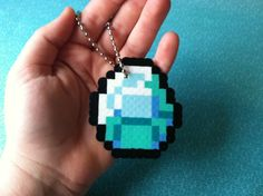 Diamond keychain made out of perler beads. Minecraft Beads, Minecraft Perler, Minecraft Party, Melted Pony Beads, Hama Art, Melting Beads, Perler Patterns, Pearler Beads, Bead Art