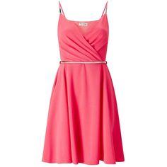 Miss Selfridge Pink Skater Dress ($44) ❤ liked on Polyvore featuring dresses, pink, miss selfridge, plunge dress, red dress, pink skater dress and belted dress