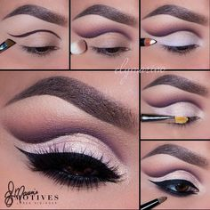 """Gorgeous Cut Crease by #MotivesMaven @elymarino using all Motives! STEPS: 1.Begin by using ""Vino"" on a think slanted brush and apply a line where you…"":"