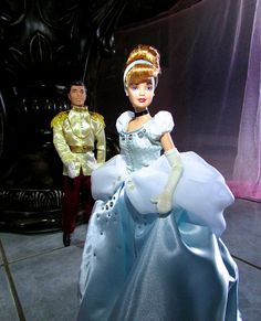 I finally updated Cinderella so now she can waltz the night away with Charming. Disney Barbie Dolls, Disney Princess Dolls, Cinderella Doll, Cinderella Prince, Doll Costume, Costumes, Disney Movies, Disney Characters, Star Wars Action Figures