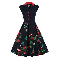 Gilda Black Bird Print Dress | Vintage Style Dresses - Lindy Bop