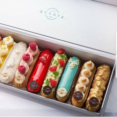 Eclair by . I am fan of their eclairs! Its so glamour and original! They are the best for me 😉😉😉 Ils… Eclairs, Kreative Desserts, Cake Recipes, Dessert Recipes, Fancy Desserts, Food Platters, Cafe Food, Aesthetic Food, Aesthetic Pastel