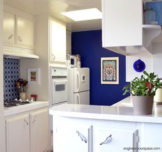 Rental kitchen makeover: from generic white to upgraded blue kitchen
