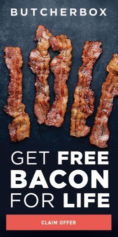 Get Bacon for LIFE. Get 1 pack of ButcherBox bacon in every box for the life of your subscription! ButcherBox bacon is uncured and free of added sugar and nitrates. It's legit the best bacon ever! We promise you'll love it. Bacon Recipes, Diet Recipes, Cooking Recipes, Healthy Recipes, Healthy Meals, Delicious Recipes, Easy Recipes, Whole30 Dinner Recipes, Steak Recipes