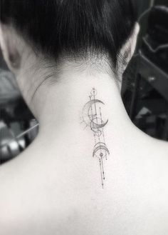 moon tattoo on neck