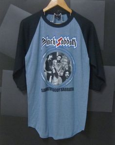 Black Sabbath shirt Light navy blue size L raglan by CuteClassic, $16.50