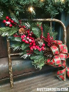 I'm Dreaming of an Upcycled Christmas! (Child's Iron Bed Wreath)