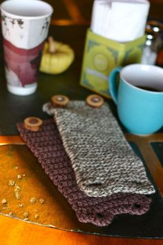 Christmas gifts for my coffee loving friends. Free Knitting or Crochet Pattern Tutorial: Coffee Cozy.  Two easy patterns to use leftover wool, go wild! Okay, I did one in crochet last night, red and white wools, two red buttons, looks awesome and am using it today, co-workers jealous :)