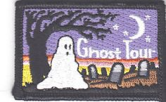 """""""GHOST TOUR"""" PATCH w/GHOST, MOON & TREE-Iron On Applique/Autumn, Halloween"""