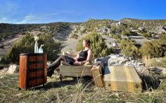 cozy vintage photo shoot in the mountains with suit cases. you can always dream of something more