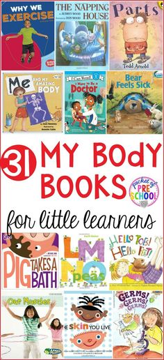 Me and My Body Books for Little Learners – Pocket of Preschool 31 Me and My Body Books for preschool, pre-k, and kindergarten Preschool Books, Preschool Classroom, Kindergarten Activities, Book Activities, Books For Preschoolers, Health Activities, Classroom Ideas, Body Preschool, Preschool Science