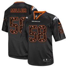 All Size Free Shipping Limited Men s Nike Denver Broncos  58 Von Miller New  Lights Out 7b12cf60b