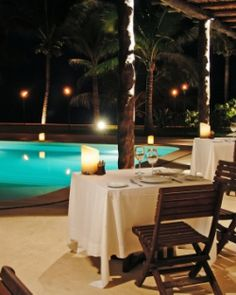 Dine poolside at Sal y Fuego Restaurant, or drive 20 minutes for a dinner in Playa del Carmen. #JSHoneymoon
