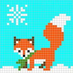 Winter Fox Square Graph is deisgned to be used the the Corner to Corner crochet technique. This is one of 11 graphs used to make my Winter Blanket. Xmas Cross Stitch, Cross Stitch Cards, Cross Stitch Animals, Cross Stitching, Cross Stitch Embroidery, Cross Stitch Designs, Cross Stitch Patterns, Crochet Fox, Graph Crochet