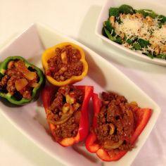 LCHF fyllte paprika og spinat salat