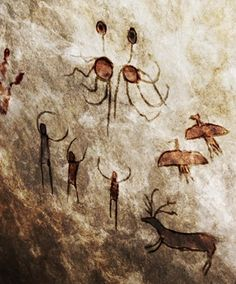 ancient-cave-painting of people worshipping the Flying Spaghetti Monster