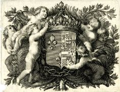 A seventeenth century engraving showing the coat of arms of French regent Queen Anne of Austria, surmounted by a crown, surrounded by six spirits and foliage. Engraving (British Museum)