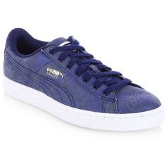 PUMA Basket Denim Sneakers (90 PEN) ❤ liked on Polyvore featuring shoes, sneakers, rubber sole sneakers, laced sneakers, denim sneakers, lace up shoes and urban footwear