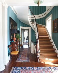 Foyer - home in upstate New York, Miles Redd Interior Design. Foyer Decorating, Decorating Your Home, Best Interior, Interior Design, Classic Interior, Luxury Interior, Upstate New York, Stairway To Heaven, Grand Stairway