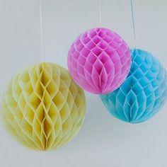 Honeycomb paper balls yellow, turquiose and pink