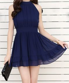 $12.67 Ruffled Self-Tie Stand Collar Solid Color Sleeveless Casual Dress For Women