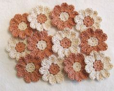 Pastel Crochet Flower Appliques set of 12 by IreneStitches
