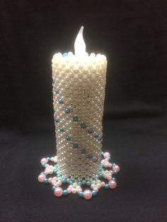 Beaded Crafts, Diwali Decorations, Pony Beads, Xmas, Christmas, Pillar Candles, Diy, Bead Crafts, Porta Velas