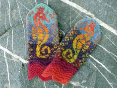 Hippocampus pattern by Tori Seierstad. pattern is a free download from Ravelry in English, French, Spanish, and Portuguese. There is a small error in the pattern. If you choose to work the cuff in the round, you should cut yarn after the cuff. You will then slip some sts to where you're going to start the round for the hippocampus chart. This is to make the wavy cuff pattern symmetrical and align with the rest of the pattern.