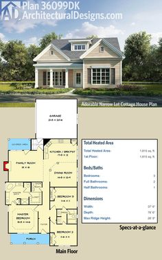 Architectural Designs Cottage House Plan 36099DK is under 38'-wide. Ready when you are. Where do YOU want to build?