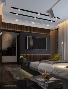 Ceiling design bedroom - bedroom on Behance Tv Wall Design, Ceiling Design, Bed Design, House Design, Home Room Design, Home Office Design, Home Interior Design, Master Bedroom Interior, Bedroom Decor