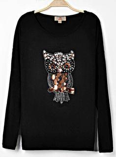 Black Long Sleeve Owl Pattern T-shirt EUR€24.72