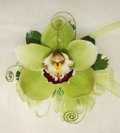 Grandma Shell bouttonierre  green cymbidium orchid