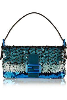 Fendi | Baguette sequin-embellished silk shoulder bag