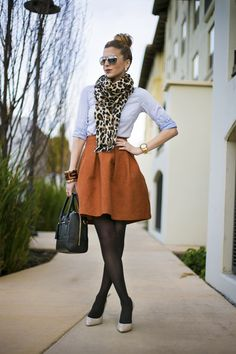 How cute is this! Leopard scarf - a personal love. Pumpkin color skirt - an all time fave color and denim shirt!