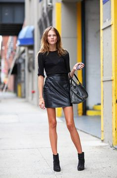 black tee + black leather skirt + black boots