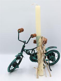 λαμπάδες πασχαλινές με μεταλλικό ποδήλατο, annassecret, Χειροποιητες μπομπονιερες γαμου, Χειροποιητες μπομπονιερες βαπτισης