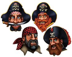 Pirate Crew Cutouts are a great way to weigh anchor at your pirate theme party. The pack has 4 pirate crew double-sided cutouts, which are 16 inches. Pirate Party Decorations, Party Themes, Hanging Decorations, Party Ideas, Themed Parties, Pirate Birthday, Pirate Theme, Pirate Halloween, Halloween Kids