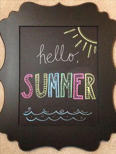 Hello summer chalkboard - - Chalk Art İdeas in 2019 Summer Chalkboard Art, Chalkboard Doodles, Chalkboard Art Quotes, Blackboard Art, Chalkboard Drawings, Chalkboard Lettering, Chalkboard Designs, Chalk Drawings, Hand Lettering