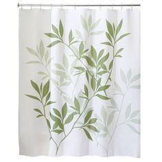 Interdesign Leaves Fabric Shower Curtain Stall 54 X 78 Green