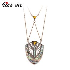 Geometric Shell Pendant Necklace Top-Rated Summer Jewelry Long Brass Chain Necklace