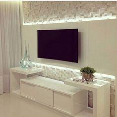 WEBSTA @decorehoje Home tv totalmente clean, com iluminação destacando o painel e o revestimento. ❤️ Autoria: Isabelle Melo Acompanhem também meu trabalho: @domdesigndeinteriores