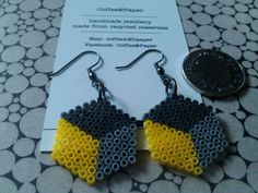 Hexagonal earrings made of mini hama beads by coffeeANDpaper