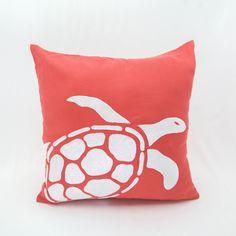 Bright Coral Color Pillow Cover with Sea Turtle Embroidery #KainKain https://Etsy.me/2K2asTf #houseware #pillow #nauticaldecor #throwpillow #couchpillow #coral #turtlepillow #embroiderypillow #handmade #etsy #custompillow #modernpillow #coastaldecor
