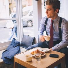 men male sexymen sexymale coffee coffeelover beard morning coffeeaddict café cafe belle gueule beau mec Thanks to Mens Attire, Mens Suits, Men Coffee, Coffee Cafe, Mens Braces, Blazer Vest, Braces Suspenders, Gentleman Style, Nespresso