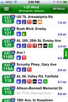03/05/2012 Travel App of the Day: iExit Interstate Exit Guide. $1.99 App for iOS and Droid devices that could save a....family feud :)