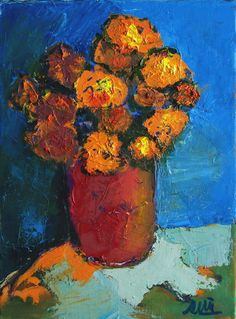 Huile sur toile 33x24cm Bouquet, Art En Ligne, Galerie D'art, Art Original, Orange, Oeuvre D'art, Les Oeuvres, Painting, Oil On Canvas