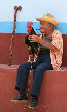 Man & Rooster,  Trinidad  Cuba